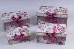 Набор подарочный коробок из 4шт - Прямоугольник Цветы на лиловом 22*15*11см D764