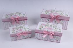 Набор подарочный коробок из 4шт - Прямоугольник Цветы на розовом 22*15*11см D764
