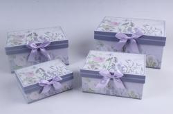 Набор подарочный коробок из 4шт - Прямоугольник Цветы на сиреневом 22*15*11см D764