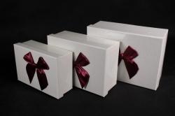 Набор подарочный коробок из 3шт - Прямоугольник кожа рептилии белая/бант бордо  N311