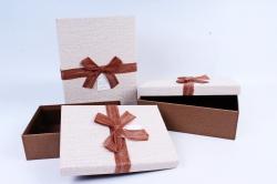 Набор подарочный коробок из 3шт - Прямоугольник коричневый  Р126
