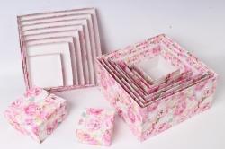 Набор подарочныз коробок из 10шт - Квадрат № 71 Розы Розовый 28,2см*28,2см*15см  Пин71РР