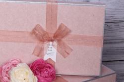 Набор подарочныз коробок из 3шт - Прямоугольник с блестками персик 32*24*11см  4489