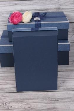 Набор подарочныз коробок из 3шт - Прямоугольник с блестками синий 32*24*11см  4489