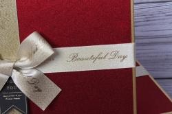 Набор подарочныз коробок из 3шт - Прямоугольник с блестящей крышкой красный 32*24*11см  В490