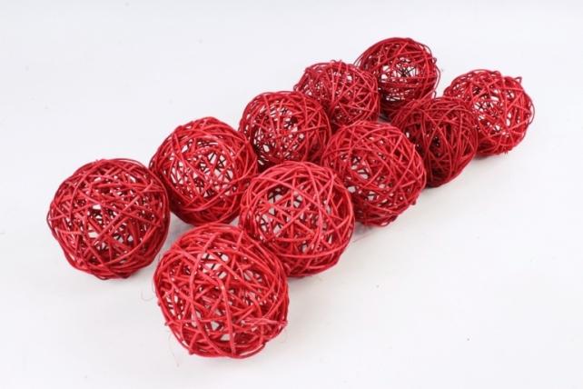 Набор Шар ротанговый красный 10 см (10шт в уп) XF111620 4''
