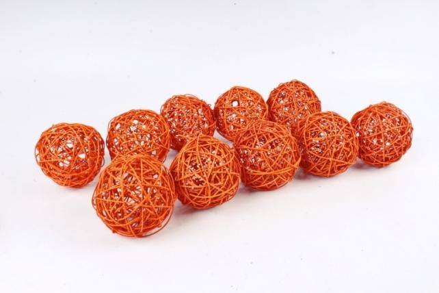 Набор Шар ротанговый оранжевый 10 см (10шт в уп) XF111620 4''