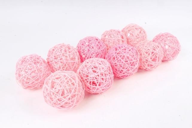 Набор Шар ротанговый розовый 10 см (10шт в уп) XF111620 4''