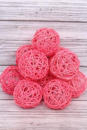 Набор Шар ротанговый ярко-розовый 10 см (10шт в уп) XF111620 4''