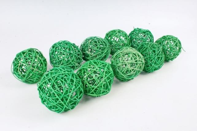 Набор Шар ротанговый зеленый 10 см (10шт в уп) XF111620 4''