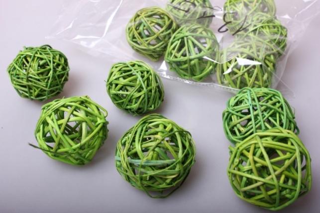 набор шаров из ротанга плетеных d=5см зеленое яблоко (12шт в уп)