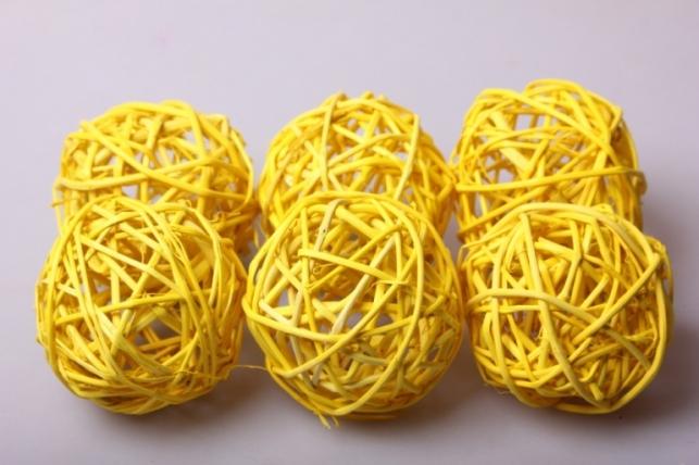 набор шаров из ротанга плетеных d=8см желтые (6шт в уп)