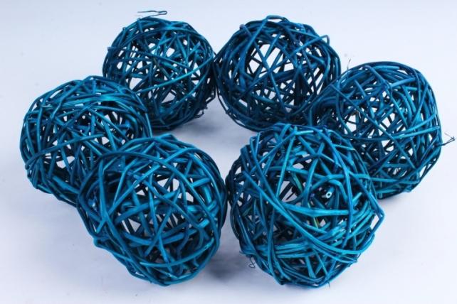 Набор шаров плетеных (ротанг) 6 шт  бирюзовый