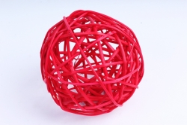 Набор шаров плетеных (ротанг) 6 шт  красный