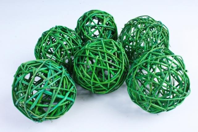 Набор шаров плетеных (ротанг) 6 шт  зеленый