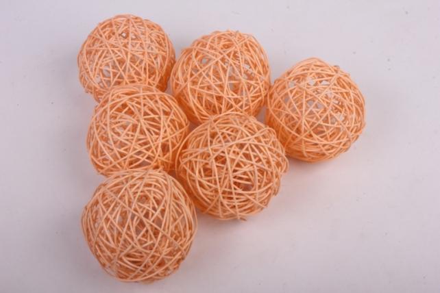 Набор шаров плетеных (ротанг) 6 шт, D10см, кремовый