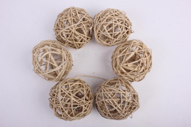 Набор шаров плетеных (ротанг) 6 шт, D10см, натуральный