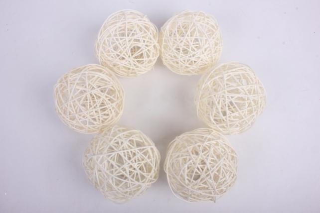 Набор шаров плетеных (ротанг) 6 шт, D10см, отбеленный