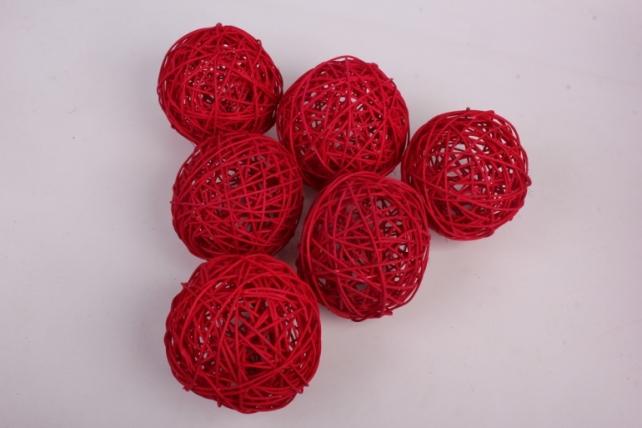 Набор шаров плетеных (ротанг) 6 шт, D12см, красный