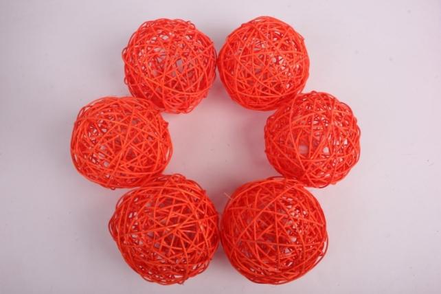 Набор шаров плетеных (ротанг) 6 шт, D12см, оранжевый