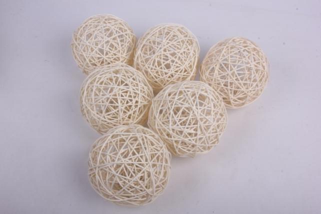 Набор шаров плетеных (ротанг) 6 шт, D12см, отбеленный