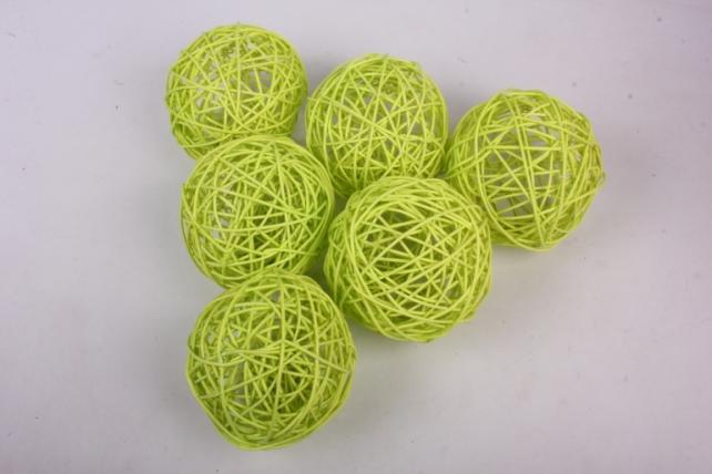 Набор шаров плетеных (ротанг) 6 шт, D12см, зеленое яблоко