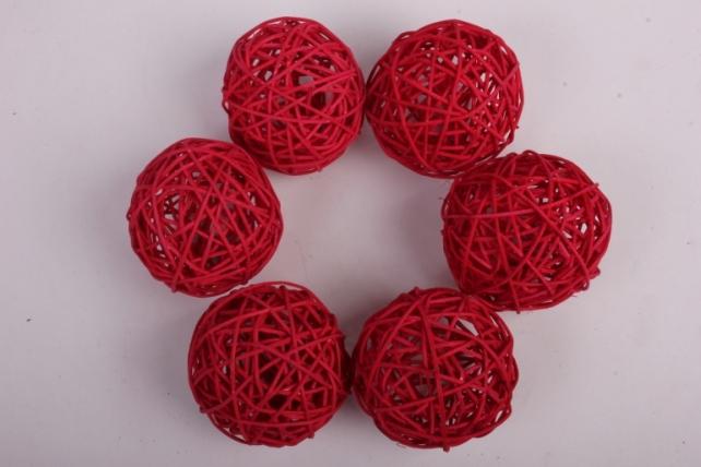 Набор шаров плетеных (ротанг) 6 шт, D7см, красный