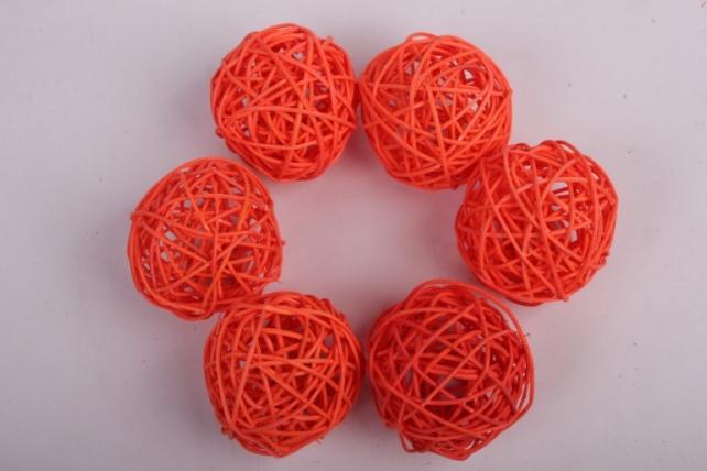Набор шаров плетеных (ротанг) 6 шт, D7см, оранжевый