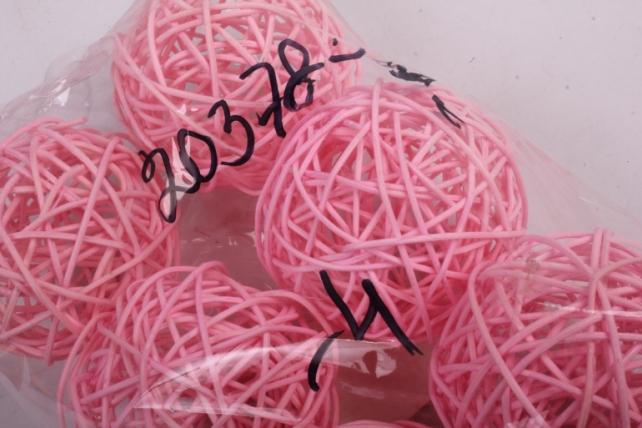 набор шаров плетеных (ротанг) 6 шт, d7см, розовый