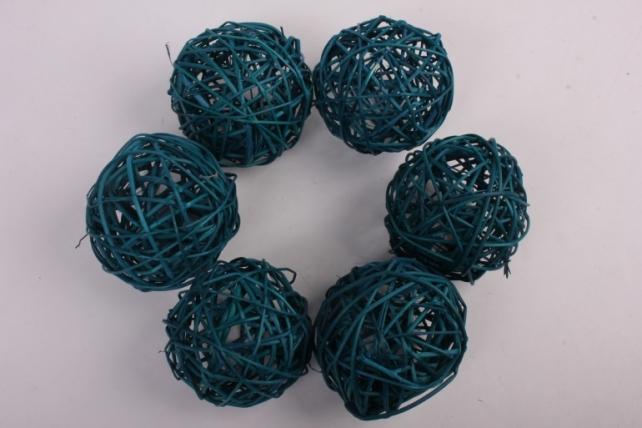 Набор шаров плетеных (ротанг) 6шт., D10см, бирюзовый