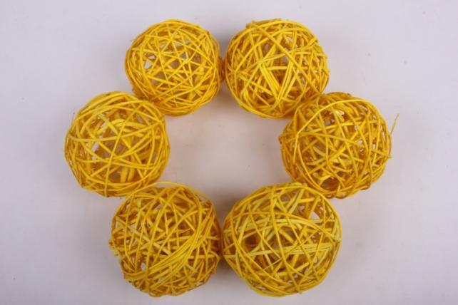 Набор шаров плетеных (ротанг) 6шт., D10см, желтый