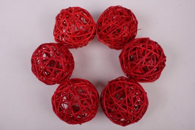 Набор шаров плетеных (ротанг) 6шт., D10см, красный