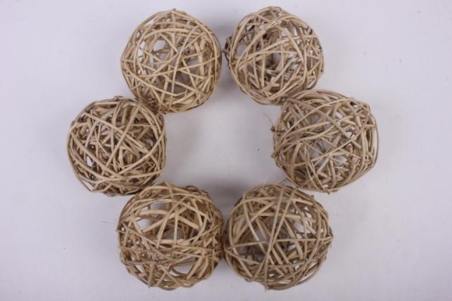 Набор шаров плетеных (ротанг) 6шт., D10см, натуральный