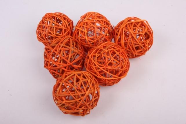 набор шаров плетеных (ротанг) 6шт., d10см, оранжевый