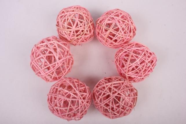 Набор шаров плетеных (ротанг) 6шт., D10см, розовый