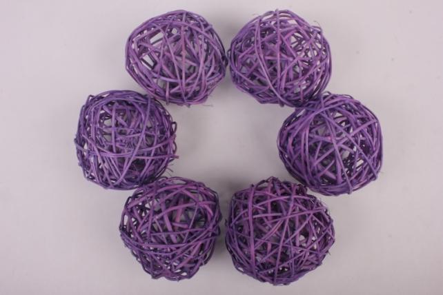 Набор шаров плетеных (ротанг) 6шт., D10см, сиреневый