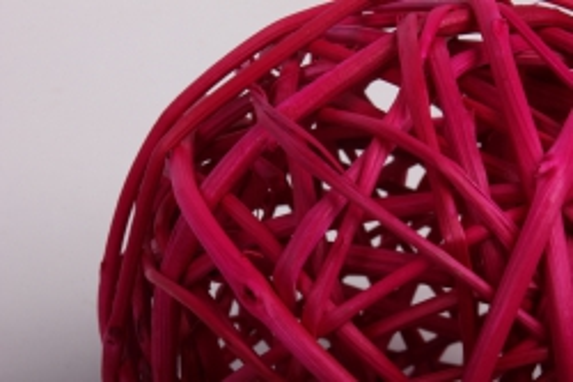 набор шаров плетеных (ротанг) 6шт., d10см, ярко-розовые