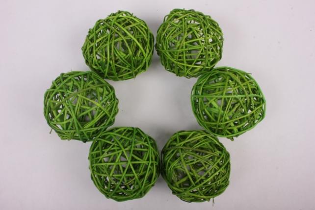 Набор шаров плетеных (ротанг) 6шт., D10см, зеленое яблоко