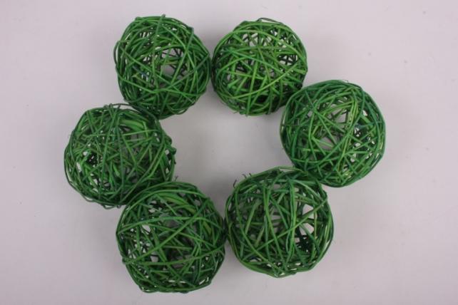 Набор шаров плетеных (ротанг) 6шт., D10см, зеленый