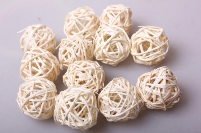 Набор шаров плетеных (ротанг) d=3см Белые (12шт в уп)