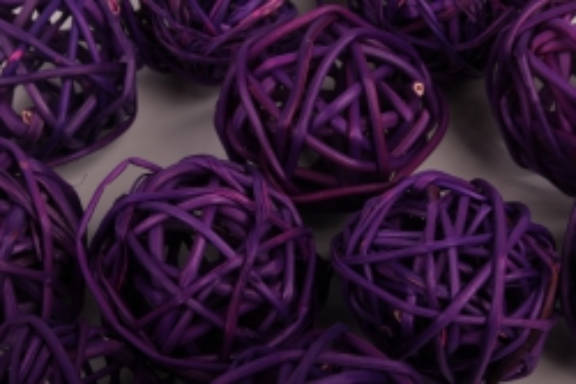 набор шаров плетеных (ротанг) d=3см фиолетовые (12шт в уп)