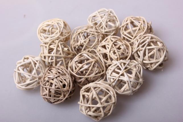 Набор шаров плетеных (ротанг) d=3см Натуральные (12шт в уп)