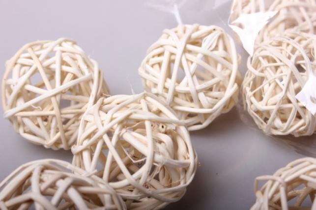 набор шаров плетеных (ротанг) d=5см белые (12шт в уп)