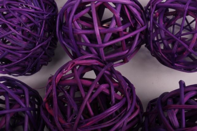 набор шаров плетеных (ротанг) d=5см фиолетовые (12шт в уп)