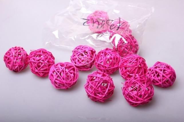 набор шаров плетеных (ротанг) d=5см розовые (12шт в уп)