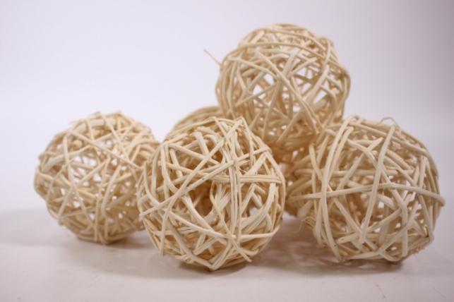 набор шаров плетеных (ротанг) d=8см - белые (6шт в уп)