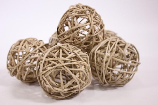 Набор шаров плетеных (ротанг) d=8см - Натуральные (6шт в уп)