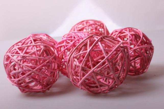 набор шаров плетеных (ротанг) d=8см розовые (6шт в уп)