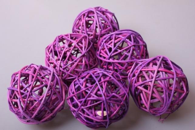 набор шаров плетеных (ротанг) d=8см сиреневые (6шт в уп)