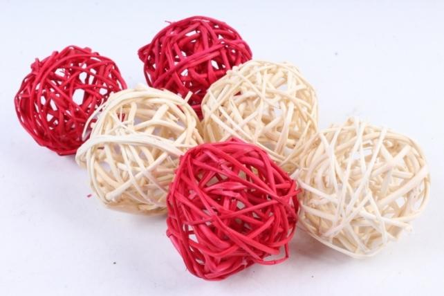 Набор шаров плетеных (ротанг)  Красные/белые (6шт в уп)